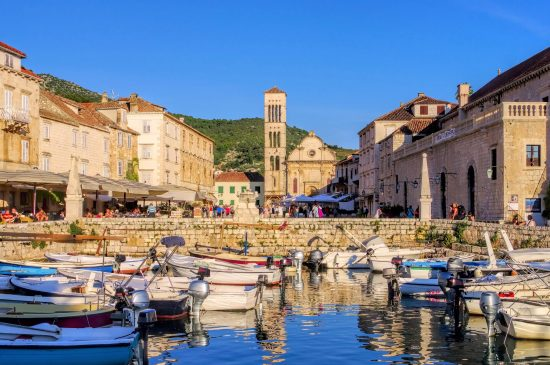 The spectacular waterfront in Hvar
