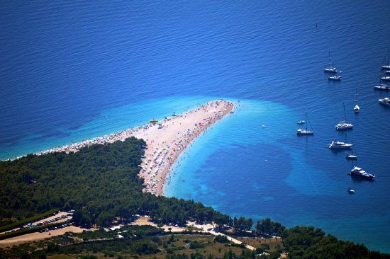 Aerial view of the famous Zlatni Rat beach, island of Brac