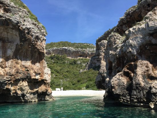 The cliffs protecting Stiniva Beach in Vis